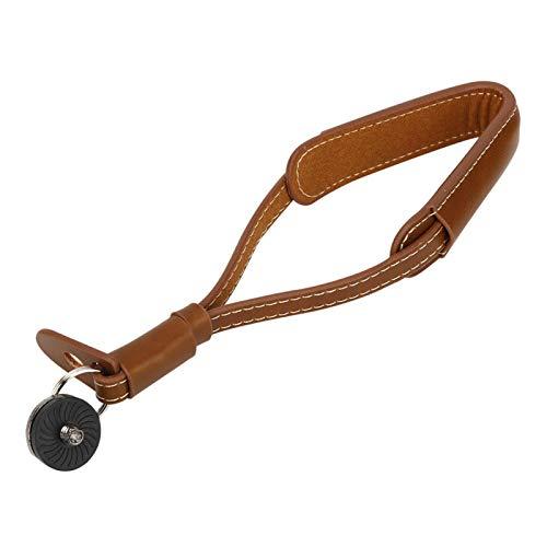 RANNYY Cordón para cámara, Cuero de PU, marrón Claro, Bola de Mano, cámara, cordón para teléfono móvil, Cuerda para Colgar, Correa de muñeca para dji OSMO Mobile2