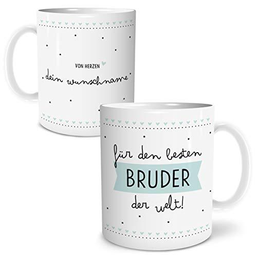 OWLBOOK Bester Bruder Große Kaffee-Tasse mit Spruch im Geschenkkarton Personalisiert mit Namen Geschenke Geschenkideen für Bruder zum Geburtstag Danksagung