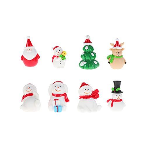 Toyvian 8 Piezas Mini Figura de Navidad de Papá Noel Árbol de Navidad Muñeco de Nieve Adorno de Jardín de Hada Miniatura Decoración Jardín