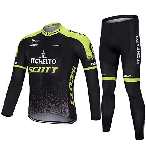 Otoño Invierno para Hombre de la Camiseta del Equipo de Ciclismo para Larga de Manguito Ropa de Ciclismo de montaña de Carretera al Aire Libre, Ropa de Deporte Conjunto de Bicicletas térmica,L