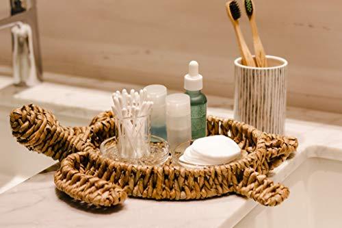 Round Woven Rattan Tray, Sea Turtle Decorative Basket Tray for Coffee Table, Ottoman, Kitchen and Bathroom Ocean Beach Decor