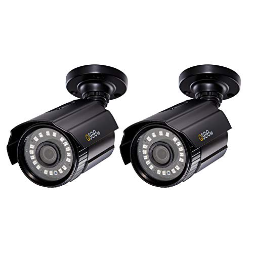 Q-See Home Security Cameras, 1080P Analog HD Add-On Bullet Surveillance Camera 2-Pack, Night Vision, BNC, Indoor and Outdoor, Black (QTH8053BA-2)