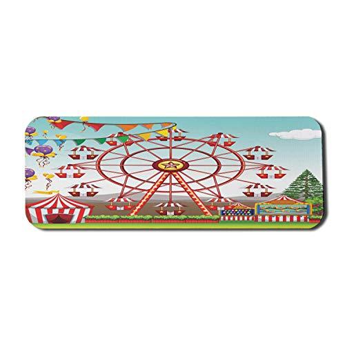 Zirkus-Computer-Mauspad, Riesenrad im Vergnügungspark Illustration Ferne Hügel und Blumentöpfe drucken, Rechteck rutschfestes Gummi-Mauspad Groß Mehrfarbig