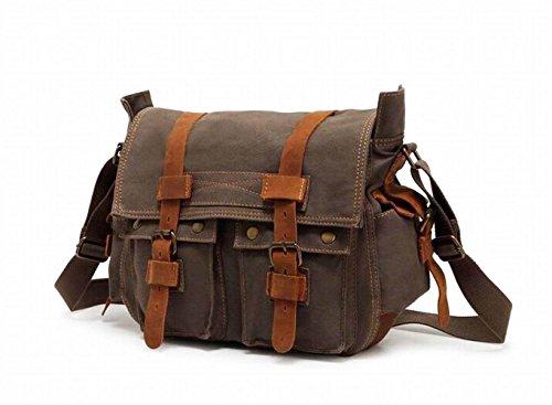 bluboon (TM) Messenger, Unisex Kreuz Body Laptop-Rucksack Single Schulter Canvas Rucksack mit Langlebig Tragegurt Vintage Umhängetaschen, Armee-grün