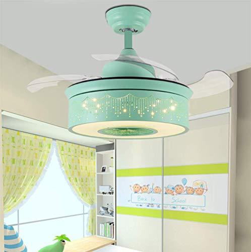 YAMEIJIA Onzichtbare ventilator licht kinderkamer plafondventilator licht eenvoudig creatief met LED slaapkamer eetkamer kroonluchter, groen