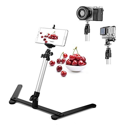 Photo Copy Pico Projector Stand Overhead Phone Mount Adjustable Tabletop Teaching Online Stand for Live Streaming Baking Crafting Demo Online Video and Draw Recording