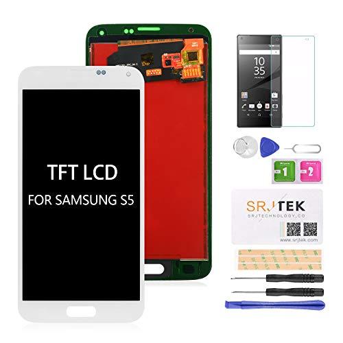 srjtek - Pantalla LCD de repuesto para Samsung Galaxy S5 G900, G900, G900MD, G900A, G900A, G900A, G900A, pantalla táctil, montaje de cristal, (no AMOLED)