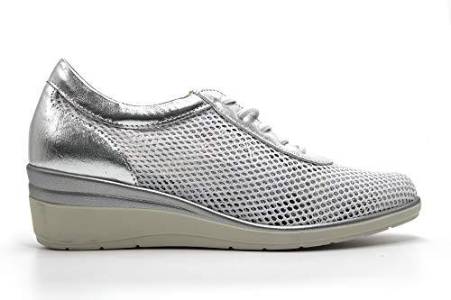 PITILLOS - Zapato Deportivo Casual, Sneakers de cordón elástico, cuña y Plataforma. Fabricado en Piel, para: Mujer Color: Plata Talla:41
