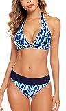 Anwell Bikini Mittlerer Badeanzug Damen Geometrie Push Up Zweiteilige Bademode Frauen Neckholder Bikinioberteil Blau M
