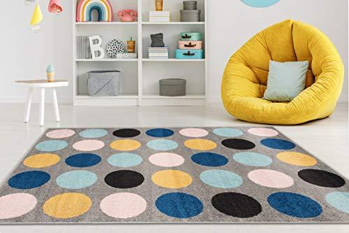 Carpeto Rugs Teppich Kinderzimmer Junge Mädchen - Kinderteppich für Spielzimmer Jugendzimmer - Viele Farben und Größen Pastellfarben Bunt 120 x 170 cm