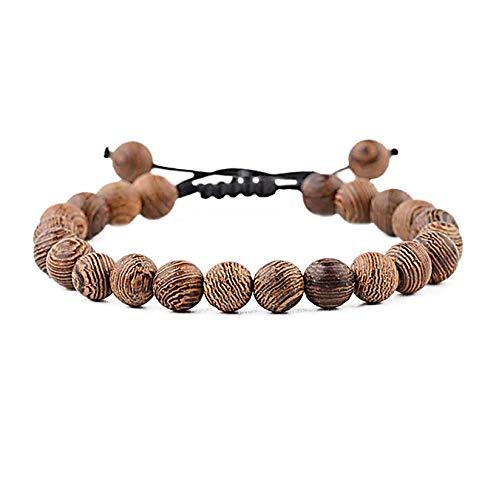Leuchtbox, braccialetto di perle in legno naturale, per donne e uomini, collana spirituale meditazione con perline di legno regolabile