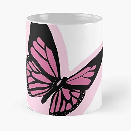 Desconocido Pink Smile Butterfly Taza de café con Leche 11 oz