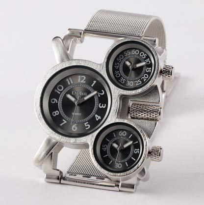 SJXIN Stilvolle Uhr Oulm Stahlgürtel Uhr Herren Militäruhr Modeuhren (Color : 1)