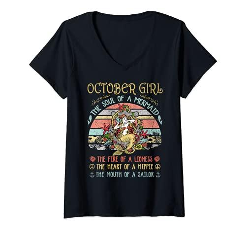 Mujer Octubre Chica El Alma De Una Sirena Vintage Cumpleaños Camiseta Cuello V