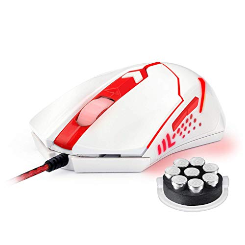 Redragon M601WA Wired 6 Button Gaming Mouse Red LED Backlit Ergonomic Programmable Mouse Centrophorus with Weight Tuning Set 3200 DPI for Windows PC (White)