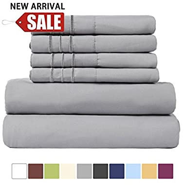 EASELAND 6-Pieces 1800 Thread Count Microfiber Bed Sheet Set-Wrinkle & Fade Resistant,Deep Pocket,Hypoallergenic Bedding set,Queen,Grey