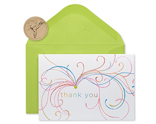 Papyrus Thank You Cards with Envelopes, Swirl Glitter (14-Count)