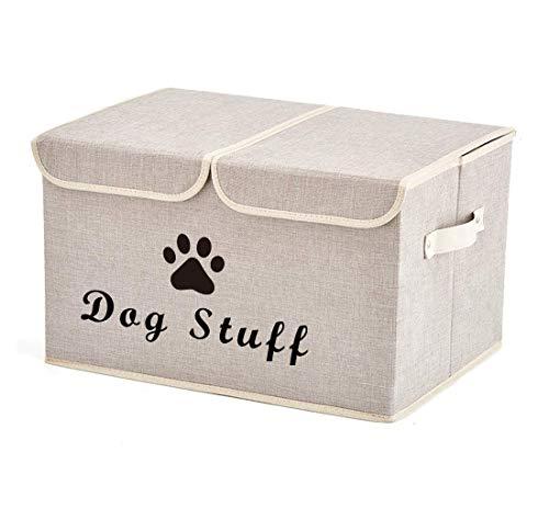 Morezi Aufbewahrungsbox Haustierspielzeug,faltbare Aufbewahrungsbox Hundespielzeug mit deckel,in dem Haustierspielzeug, Hundebekleidung und Zubehör aufbewahrt werden-Hunde-beige