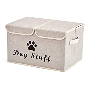 Geyecete Large Storage Boxes – Large Linen Fabric Foldable Storage Cubes Bin Box Containers with Lid and Handles for Dog…