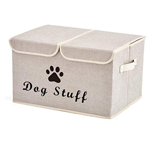 Morezi Large Dog Toys Storage Box Canvas Storage Basket Bin Organizer with Lid - Perfect Collapsible Bin for Organizing Dog Cat Toys and Accessories - Beige