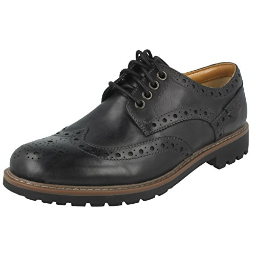 Clarks Herren Montacute Wing Brogue Schnürhalbschuhe, Schwarz (Black Leather), 44