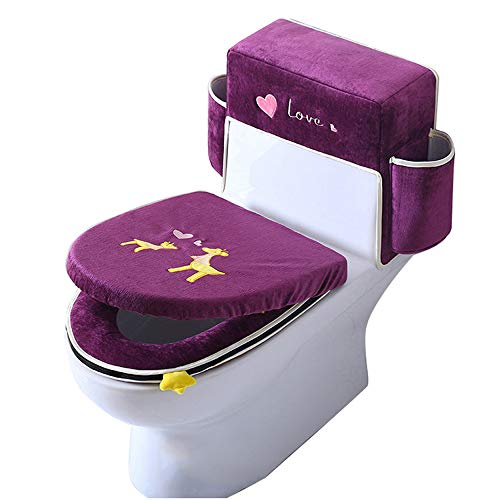 Toilet Seat Cover Cushion Three-Piece Washable Ice Silk Velvet Toilet Seats Soft and Thick Toilet Tank Cover Set Bathroom Toilet Tank Lid Cover with Handle,Purple