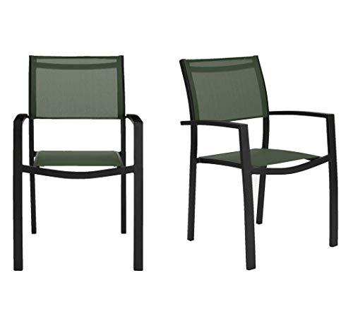 Muebletmoi - Juego de 2 sillas de jardín apilables de aluminio y textileno, color verde oscuro