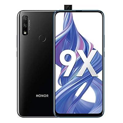 Honor 9X 6.59 inch Smartphone, 128GB ROM 4GB RAM, 48 MP AI Dual Camera, 16MP Pop-up Front Selfie Camera, Dual SIM GSM Unlocked 4G LTE International Version EU Plug US Adapter by HONOR