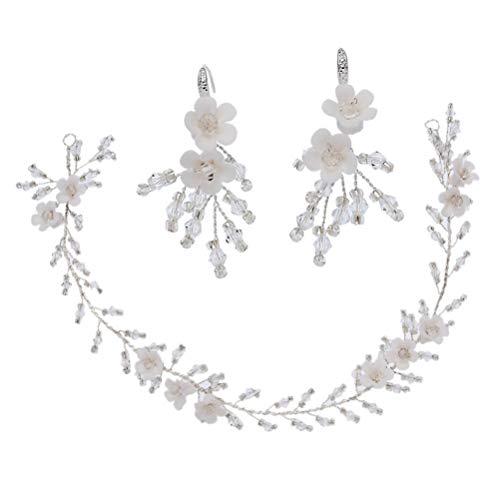 ifundom Diadema Nupcial de Boda Y Conjunto de Pendientes de Flores