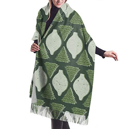PlaceHeart Woodland Schal mit geometrischem Ogee in Waldgrün, Sellerie, gestempelt, Ornamentformen, groß, weich, gemütlich, Kaschmir, Winterschal, Umhang für Damen, Übergröße