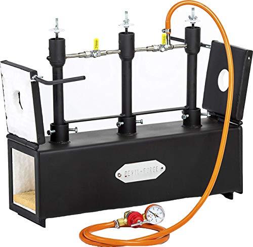 Gaspropaan | Drievoudige brander | Messen smeden | Mes maken | Smidssmeden | Ovenbrander.