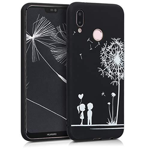 kwmobile Hülle kompatibel mit Huawei P20 Lite - Handyhülle - Handy Case Pusteblume Love Weiß Schwarz