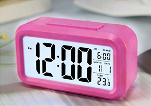 Keetech Intelligenter LED-Wecker, kreativ, digital, großes Display, Wiederholungsfunktion mit Temperatur und leuchtendem elektronischem Kalender (Rosa)