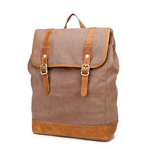 WAVENI Vintage Herren- / Damenrucksack Daypack wasserdichte Drucktaste Leinwand 14-Zoll-Laptop Student Outdoor Shopping Farbe: Grau (Color : Brown)