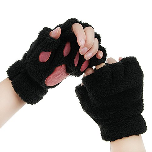 FakeFace Cute Cat Kitten Paw Fingerless Faux Fur Plush Gloves For Girls Women, Black, Small