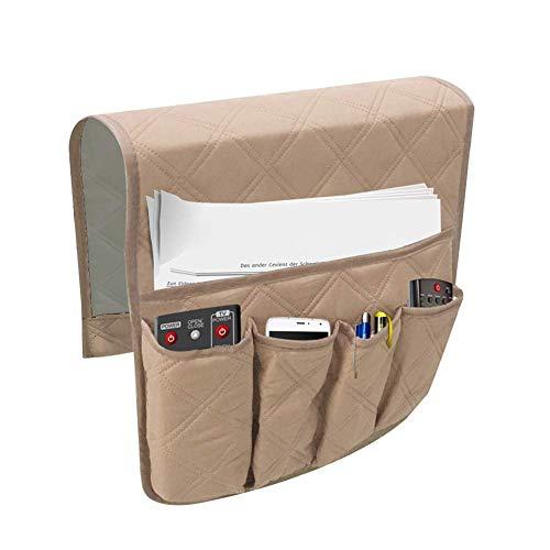 ausuky Cinco bolsillos grandes espacio de memoria reposabrazos, organizador para colgar sofá, bolsa de almacenamiento para TV con mando a distancia (beige)
