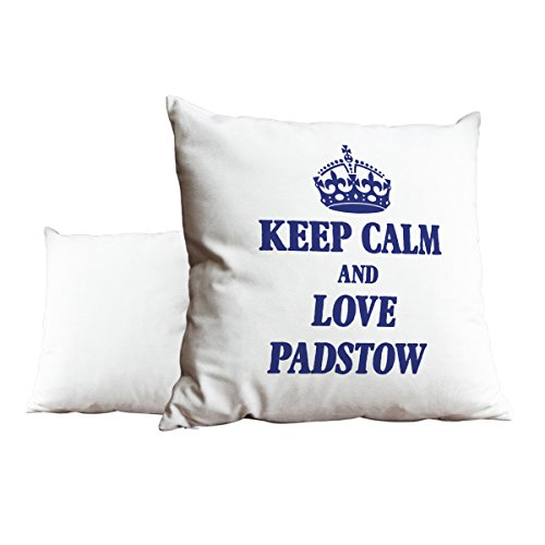 Duke Gifts Royal Blue Keep Calm and Love Padstow White Scatter Pillow 480