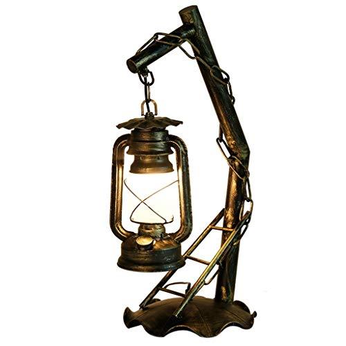 Lfixhssf Retro Village alte Stil Tischlampe Iron Horse Teelampe im Schlafzimmer Kerosene Lampe Antik Glas Wohnzimmer Bedside Loft Dekoration Industrie E27 LED Schreibtischlicht Lfixhssf