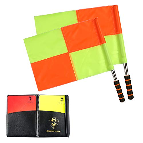Shinestone Soccer Referee Flag Sports Match Football Linesman Flags with Case Referee Equipment-2 Designs(01)