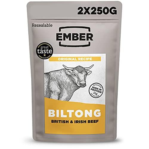 Ember Biltong Bulk Bag - Original Beef Jerky - High Protein Snack - Original (1x500g)