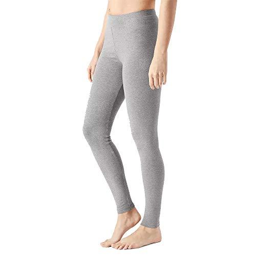 MAGIC SELECT Legging básico de algodón Largo, Malla elástica de Deporte para Mujer (Gris M)