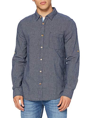 MUSTANG Herren Casper structured Hemd, Blau (Dunkelblau 4136), S