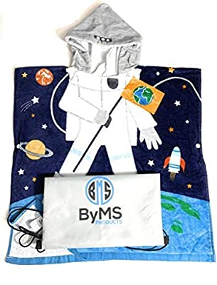 Premium Toddler Hooded Beach Bath Towel | 100% Cotton Ultra Breathable and Soft for All Seasons | FREE Water Proof Bonus Bag | Baby Poncho Coverup | Ultra Absorbent | Size 24X48 inches (Astronaut)