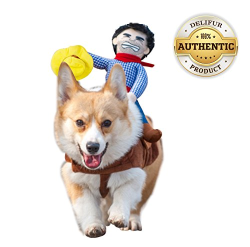 Delifur Dog Costume Pet Costume Pet Suit Cowboy Rider Style (Large)