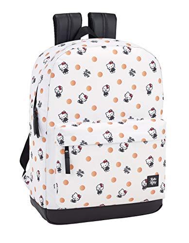 Hello Kitty Equipaje - Equipaje para niños Mochila Grande con Funda Ordenador, Blanco, 43 cm