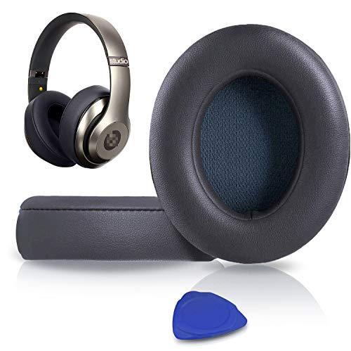 SoloWIT Almohadillas de Repuesto para Beats Studio 3 y 2 Wireless Wired Auriculares Over-Ear, con Cuero de proteína Suave/Espuma de Memoria de Aislamiento de Ruido