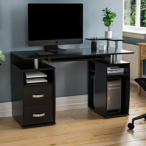 Vida Designs Otley Computer Desk with Shelves and 2 Drawers, Home Office PC/Laptop Gaming Table, Study Workstation with Keyboard Tray, Furniture, Black