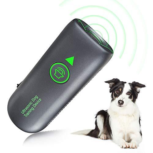 Queenmew Anti-Bell-Mittel für Hunde, Ultraschall Anti-Bell-Gerät für Hunde Bellkontrolle 100% Sicher, Wiederaufladbarer Handheld Trainingsgerät für Hunde, 5 Meter Regelbereich Freien und Innen