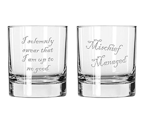 Etched Whiskey Glass set for Wizards