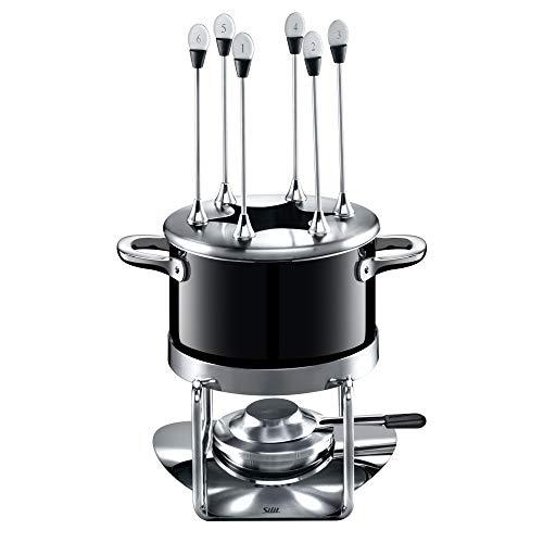 Silit Passion Black fondue-set 10-delig fondue voor 6 personen Silargan roestvrij staal geschikt voor indatie vaatwasmachinebestendig, fonduepot spatbescherming rechaud brander fonduevorkjes